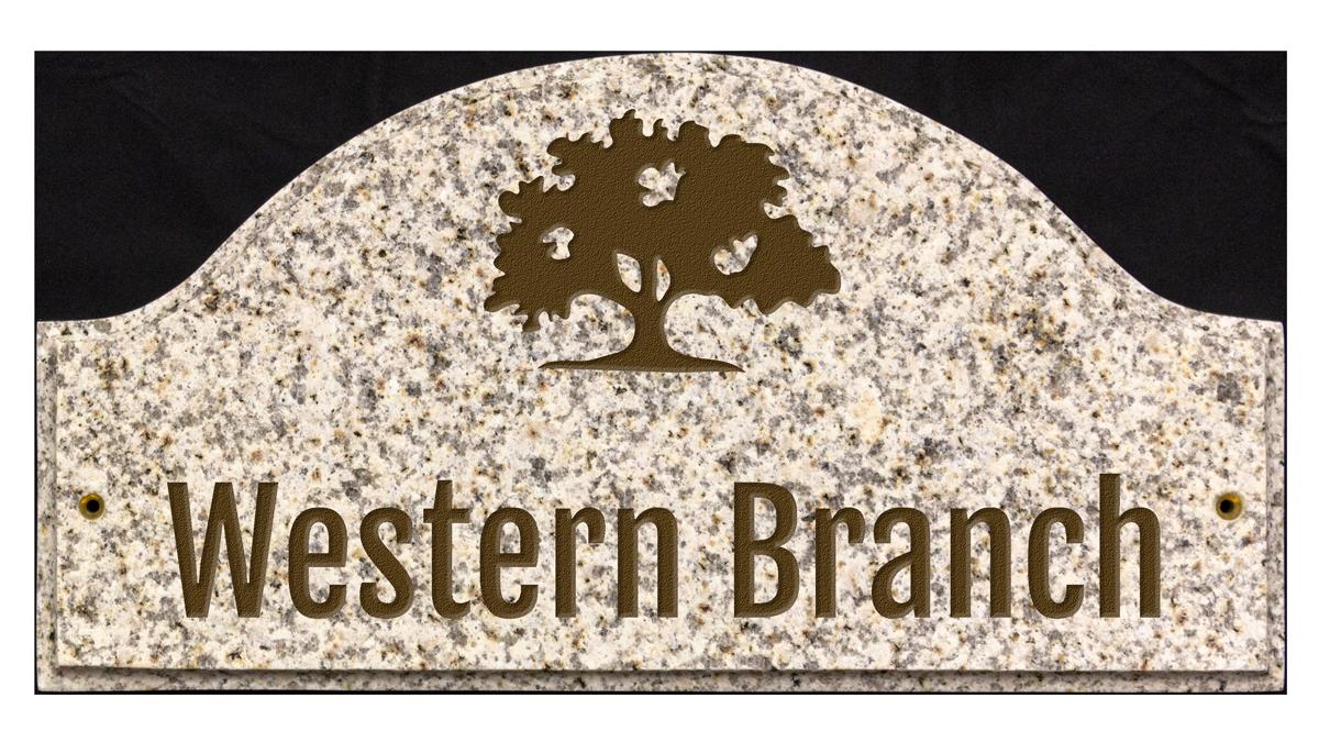 Custom engraved granite plaque with logo