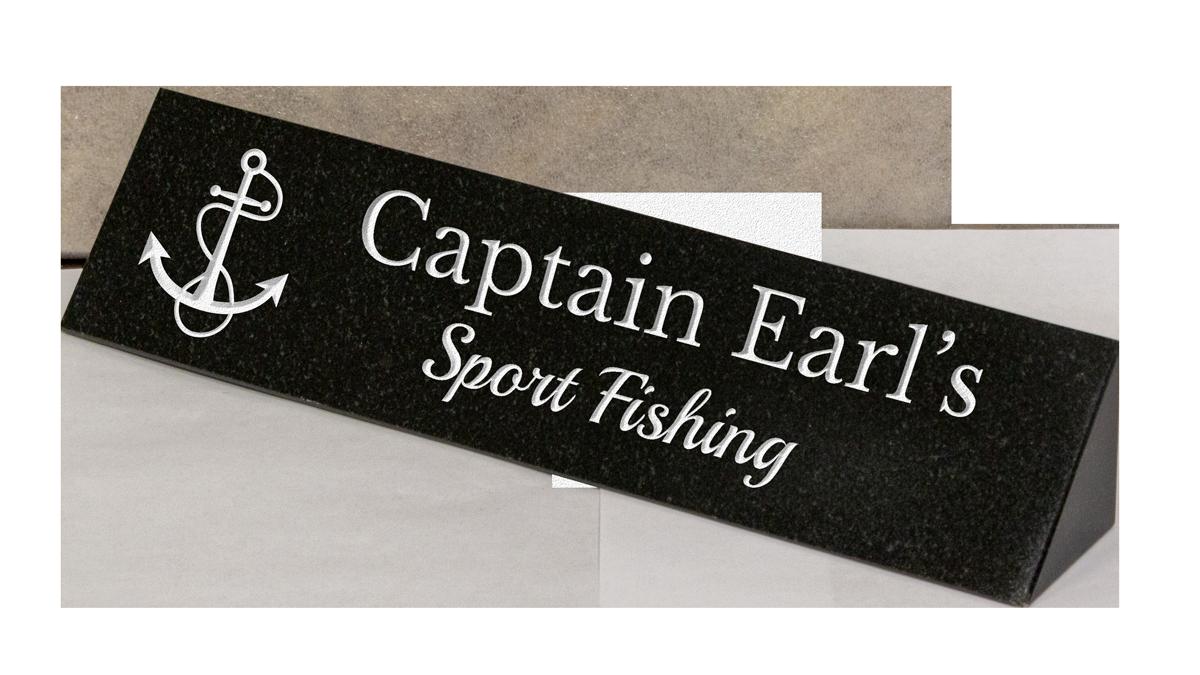 Custom engraved desk plaque with logo