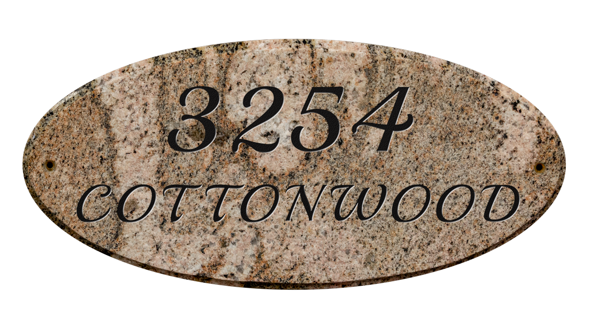 Custom address plaque engraved granite