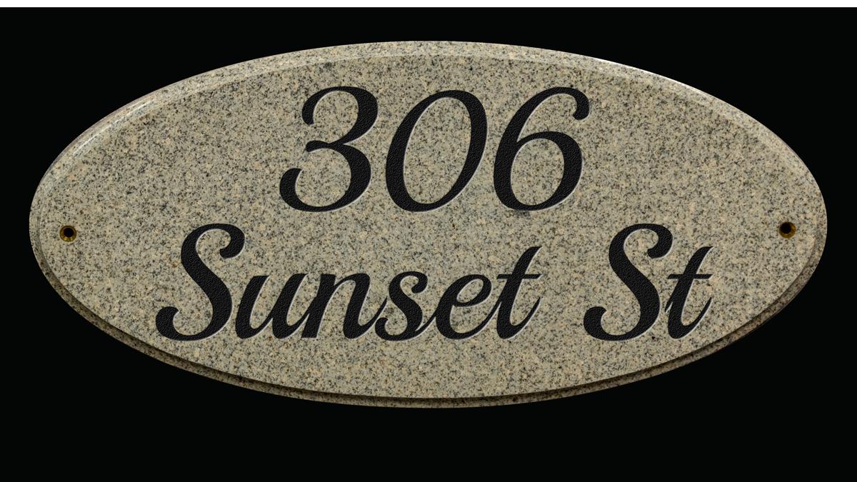 Custom lettering granite address plaque