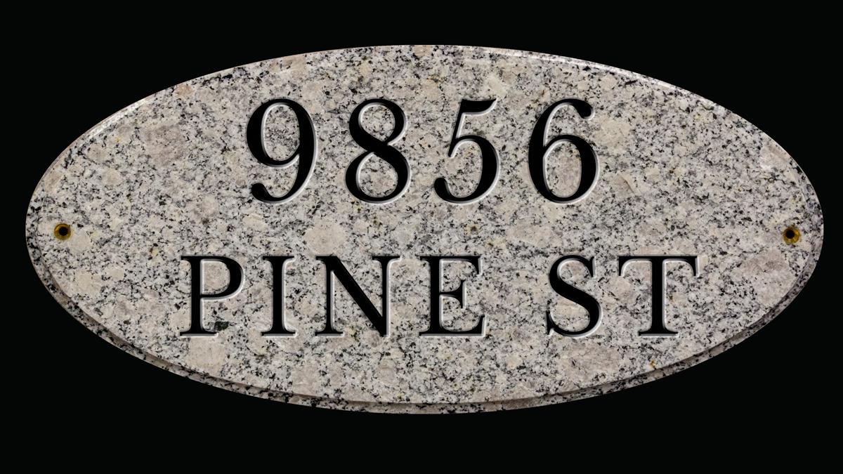 Personalized granite house plaque